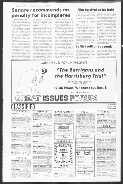 Daily Trojan, Vol. 64, No. 47, December 02, 1971
