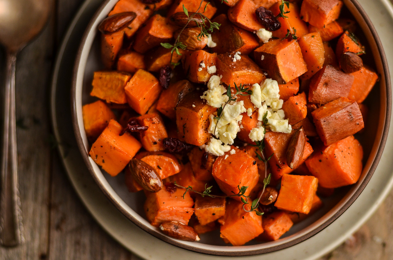 Roasted Sweet Potato Salad with Lemon-Thyme Dressing