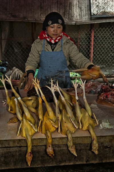 Woman selling chickens at a local street market.  Ninh Binh, Vietnam, 2008