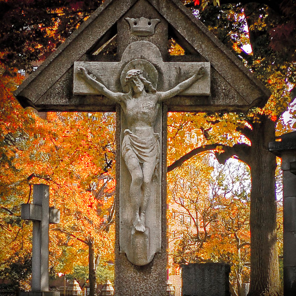 Stone crucifix burial marker, Trinity Church Cemetery & Mausoleum, Washington Heights, NYC