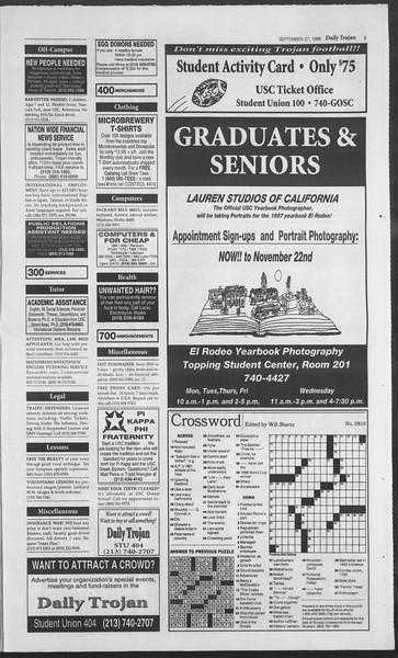Daily Trojan, Vol. 129, No. 21, September 27, 1996