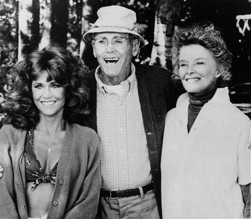 ". FILE - In this undated publicity file photo, from left, co-stars Jane Fonda, Henry Fonda, and Katharine Hepburn are pictured in character as seen from the 1981 film, ""On Golden Pond.\""  On on Saturday, April 27, 2013, Jane Fonda, the 75-year-old Oscar winner , will place her hand and footprints next to her father\'s in the concrete shrine to celebrity outside Hollywood\'s TCL Chinese Theatre. Then she\'ll present a special screening of the film she made with her dad, �On Golden Pond.� The cement and cinematic tribute is part of the 2013 TCM Classic Film Festival, which is honoring Jane Fonda. (AP Photo, File)"