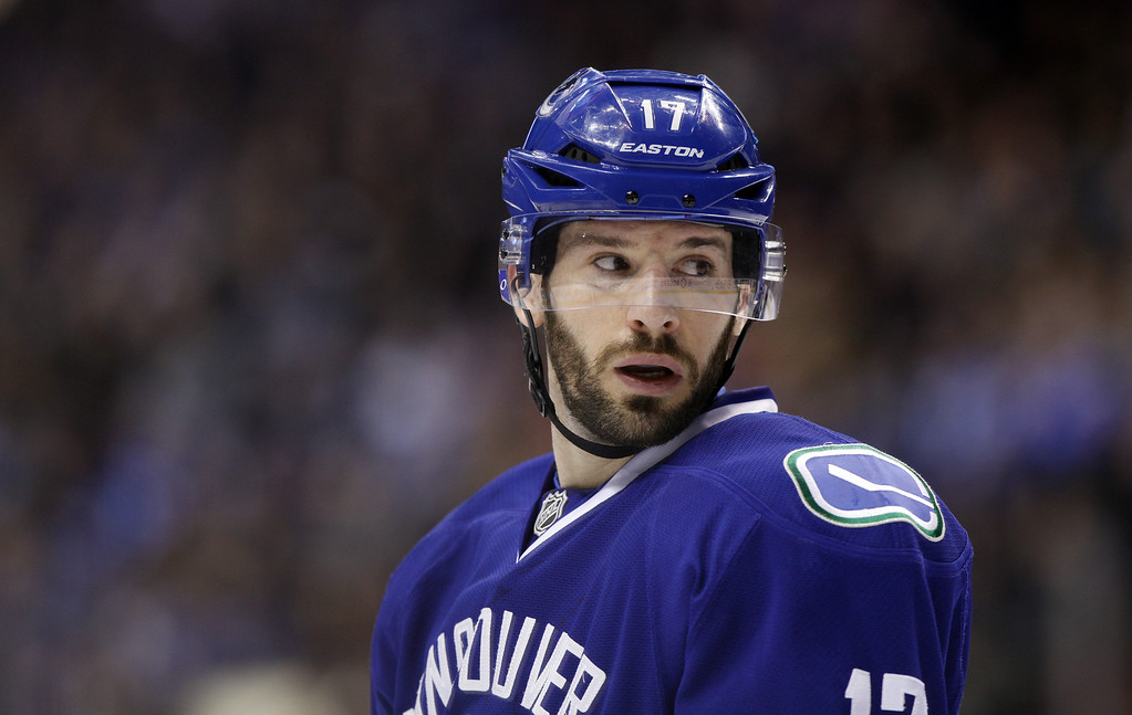 . Ryan Kesler #17 of the Vancouver Canucks is pictured while playing against the Minnesota Wild during the second period of their NHL game at Rogers Arena on February 28, 2014 in Vancouver, British Columbia, Canada. (Photo by Ben Nelms/Getty Images)