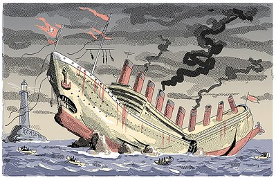 """""""The Communist Shipwreck""""; cartoon from The New York Sun; a scene suggested by the editor. There was a justly triumphal mood in the air just then, January, 2005."""