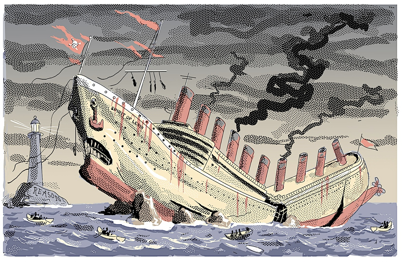 """The Communist Shipwreck""; cartoon from The New York Sun; a scene suggested by the editor. There was a justly triumphal mood in the air just then, January, 2005."