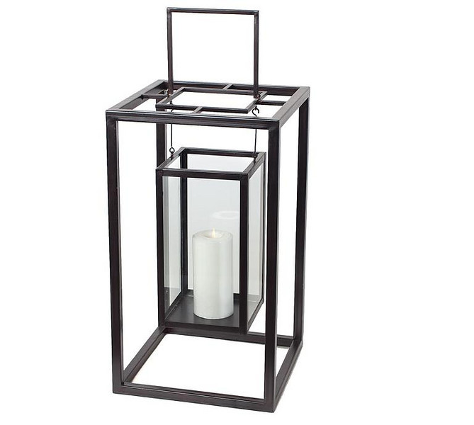 """Z-Gallery black lantern with pillar candle. I have (12) of these & they are 22"""" high.  I have an additional (4) more but they do not have glass inserts for the hanging part."""