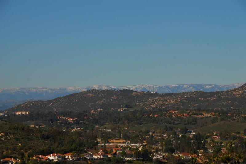 Think this is the Mount Palomar area. Don't usually see snow across this much of the range.