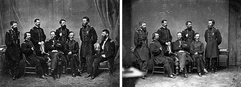 . circa 1865:  In this photo by famed photographer Mathew Brady, General Sherman is seen posing with his Generals. General Francis P. Blair (far right) was added to the original photograph.   SOURCE: http://www.cs.dartmouth.edu/farid/research/digitaltampering/