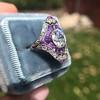 2.27ct (est) Art Deco Old European Cut Diamond with Amethyst Halo Ring 13