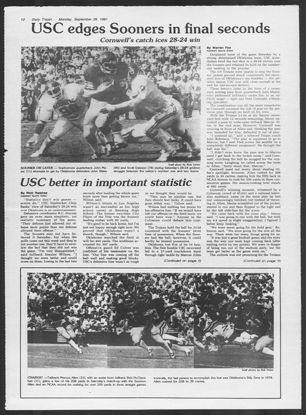 Daily Trojan, Vol. 91, No. 19, September 28, 1981