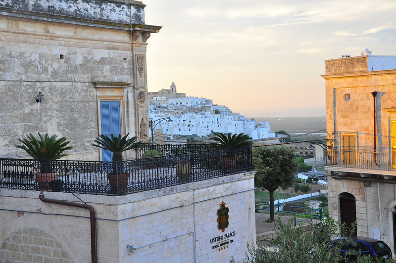 hotel room view of old Ostuni, the white city at sunset
