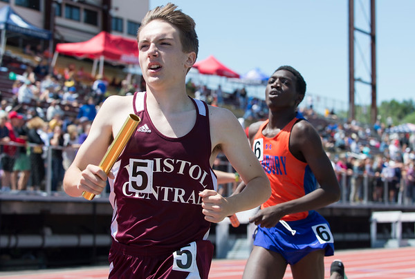 06/03/19 Wesley Bunnell   Staff The CIAC held their open track and field state open at Willow Brook Park on Monday afternoon. Austin Freve runs the anchor leg of the 4x800 meter relay.