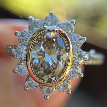 1.01 Oval Cut Diamond Halo Ring, GIA L/Brown, VS1