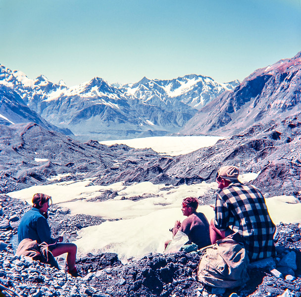 1951 Taking a rest up the Murchison Glacier with Anne Rawnsley, John Beaumont, Jer Mathews and Joe Richardson.jpg
