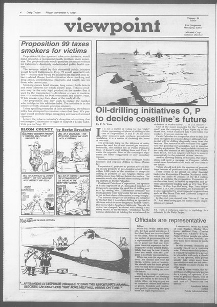 Daily Trojan, Vol. 107, No. 42, November 04, 1988