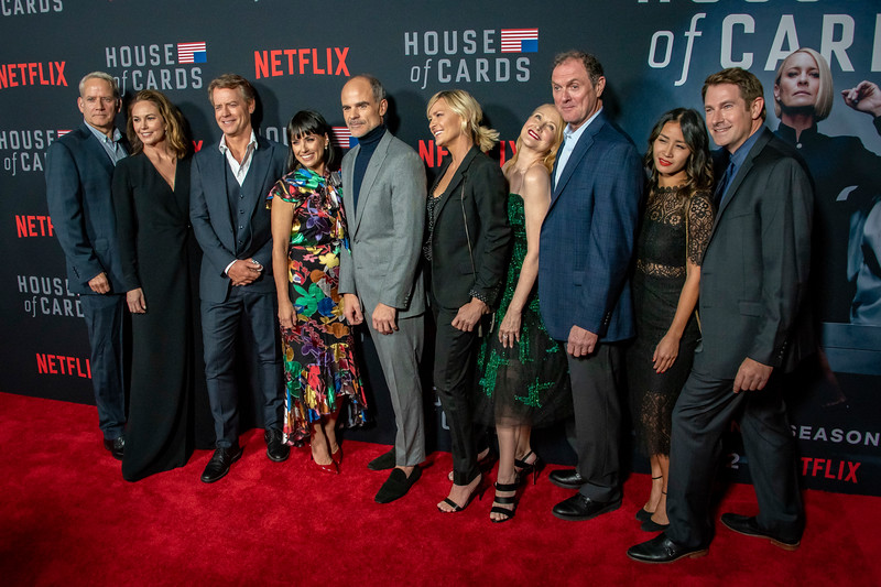 LOS ANGELES, CA - OCTOBER 22: Campbell Scott, Diane Lane, Greg Kinnear, Constance Zimmer, Michael Kelly, Robin Wright, Patricia Clarkson, Borius McGiver, and Derek Cecil attend the Los Angeles premiere screening of Netflix's 'House Of Cards' Season 6 held at DGA Theater on Monday October 22, 2018 in Los Angeles, California. (Photo by Tom Sorensen/Moovieboy Pictures)
