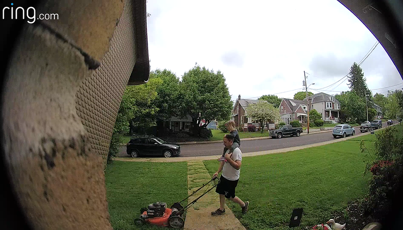 Bill Zadrovicz - Bill and his little helper mowing the lawn (photo courtesy of his doorbell)