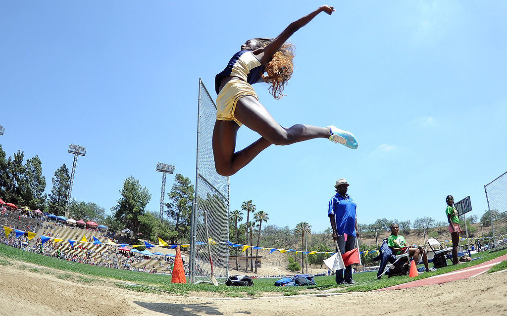 . Los Osos\'s Kira Moreland in the long jump during the CIF-SS track & Field championship finals in Hilmer Stadium on the campus of Mt. San Antonio College on Saturday, May 18, 2013 in Walnut, Calif.  (Keith Birmingham Pasadena Star-News)