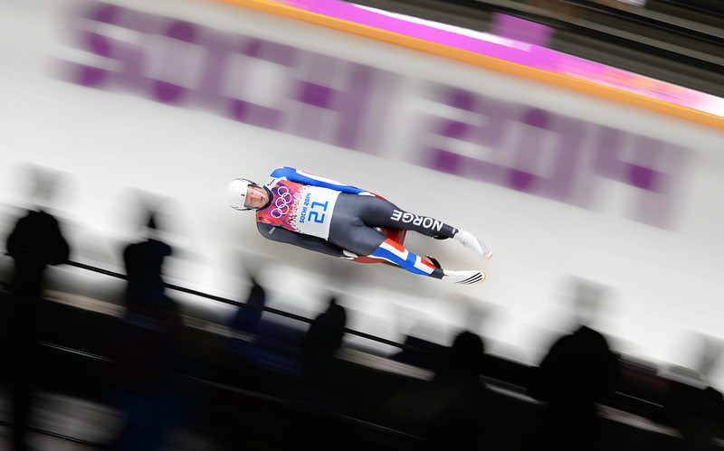 . Norway\'s Jo Alexander Koppang competes in the Men\'s Luge Singles Run at the Sliding Center Sanki during the Sochi Winter Olympics on February 8, 2014. (LEON NEAL/AFP/Getty Images)