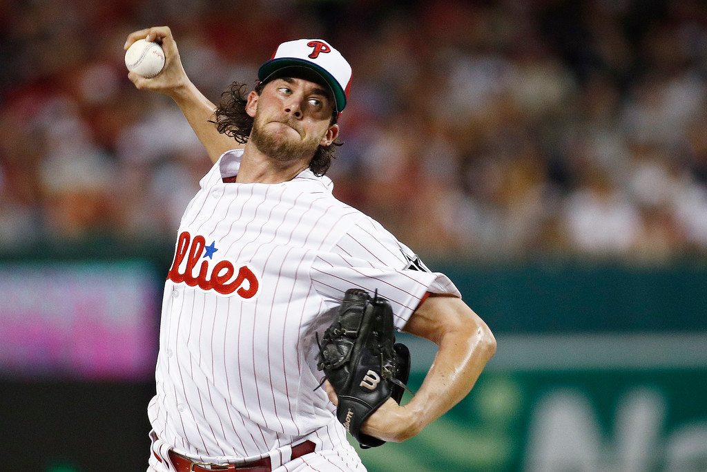 . Philadelphia Phillies pitcher Aaron Nola (27) works during the fifth inning at the Major League Baseball All-star Game, Tuesday, July 17, 2018 in Washington. (AP Photo/Patrick Semansky)