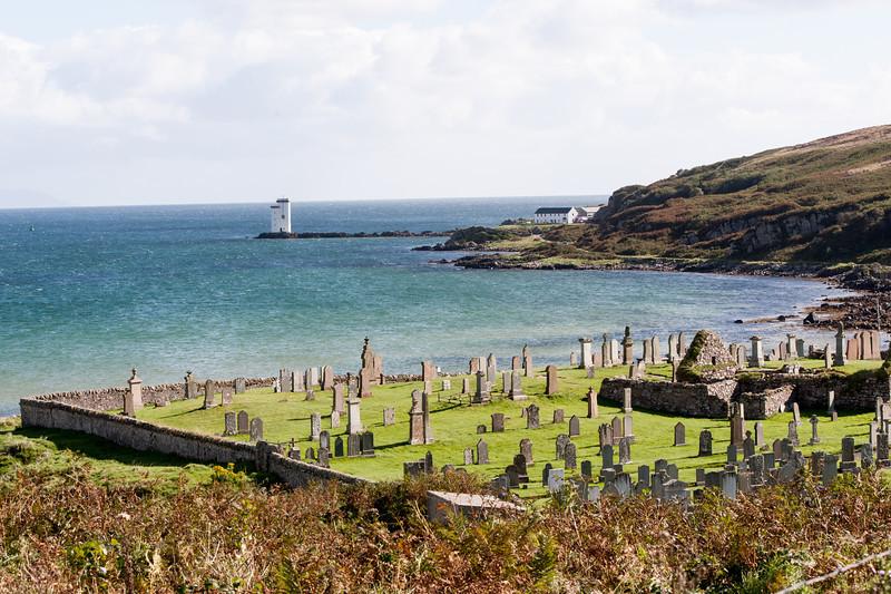 Carraig Fhada Lighthouse and Kilnaughton Graveyard