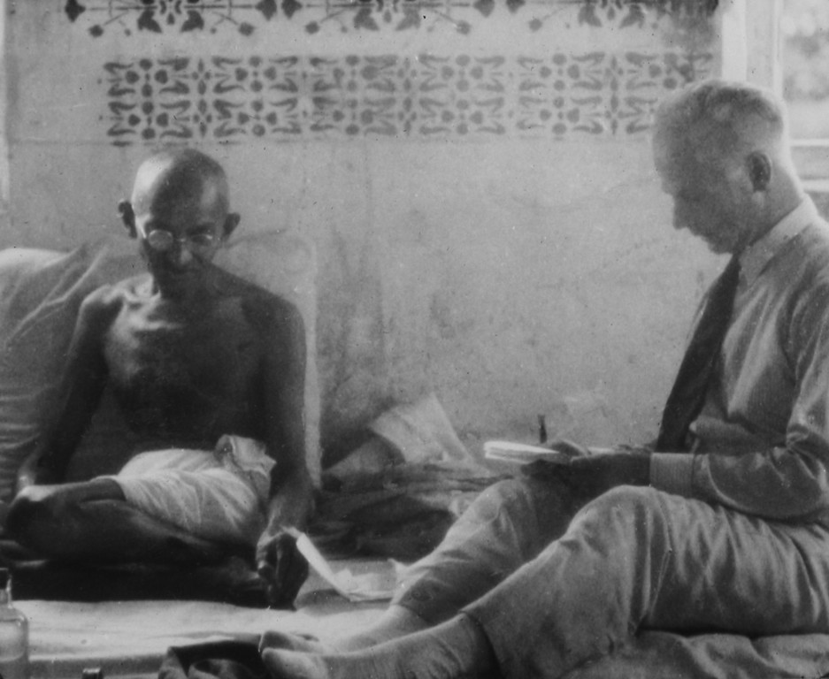 . Mahatma Gandhi, left, interviewed by AP reporter James A. Mills in Borsad, India.  Photo from a period album collected by Mills, ca. 1931. (AP Photo/James A. Mills Collection)