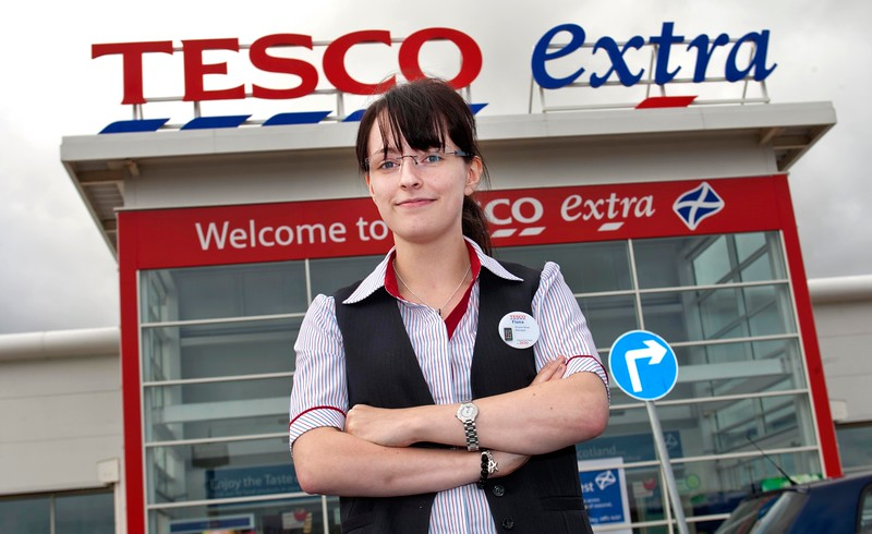 Pro Wrestler-Fiona Harrison at work in Tesco Extra at The Parkhead Forge shoppin centre.