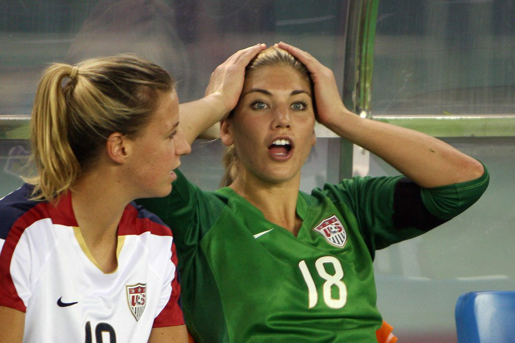 """. 17. HOPE SOLO <p>STILL our favorite soccer hooligan.   <p><b><a href=\'http://www.usatoday.com/story/sports/soccer/2014/06/21/hope-solo-arrested-on-domestic-violence-probe/11207907/\' target=\""""_blank\""""> LINK </a></b> <p>    (Mark Ralston/AFP/Getty Images)"""