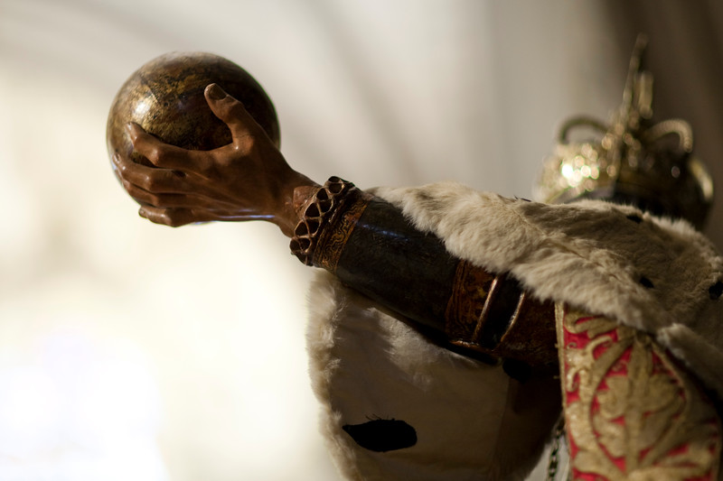 Saint Ferdinand holding a globe, sculpture in the Corpus Christi procession, Seville, Spain, 2009.