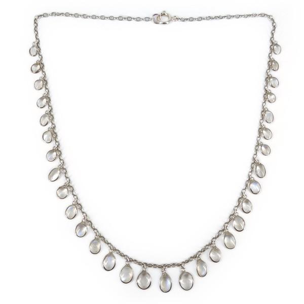 Vintage Silver Moonstone Cabochon Drop Chain Necklace