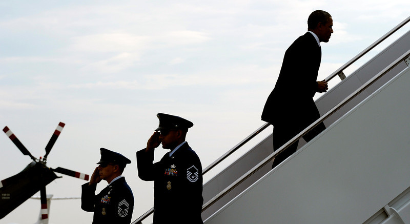 . President Barack Obama walks up the steps of Air Force One at Andrews Air Force Base in Md., Wednesday, May 28, 2014. Obama is heading to West Point where he will deliver a commencement address to U.S. Military Academy Class of 2014. Obama is expected to talk about his Afghanistan plan and to answer critics who say he has surrendered America\'s global leadership. (AP Photo/Susan Walsh)