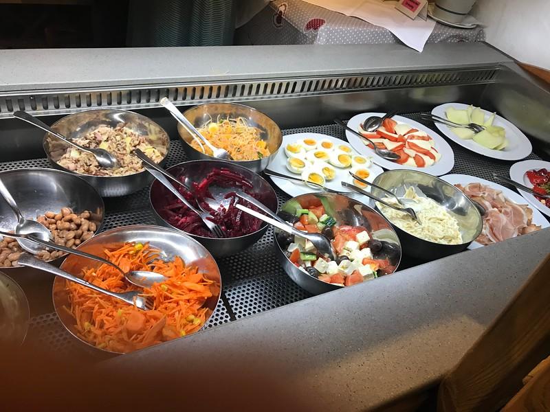 Salad bar at Hotel Susom Surlej in Silvaplana