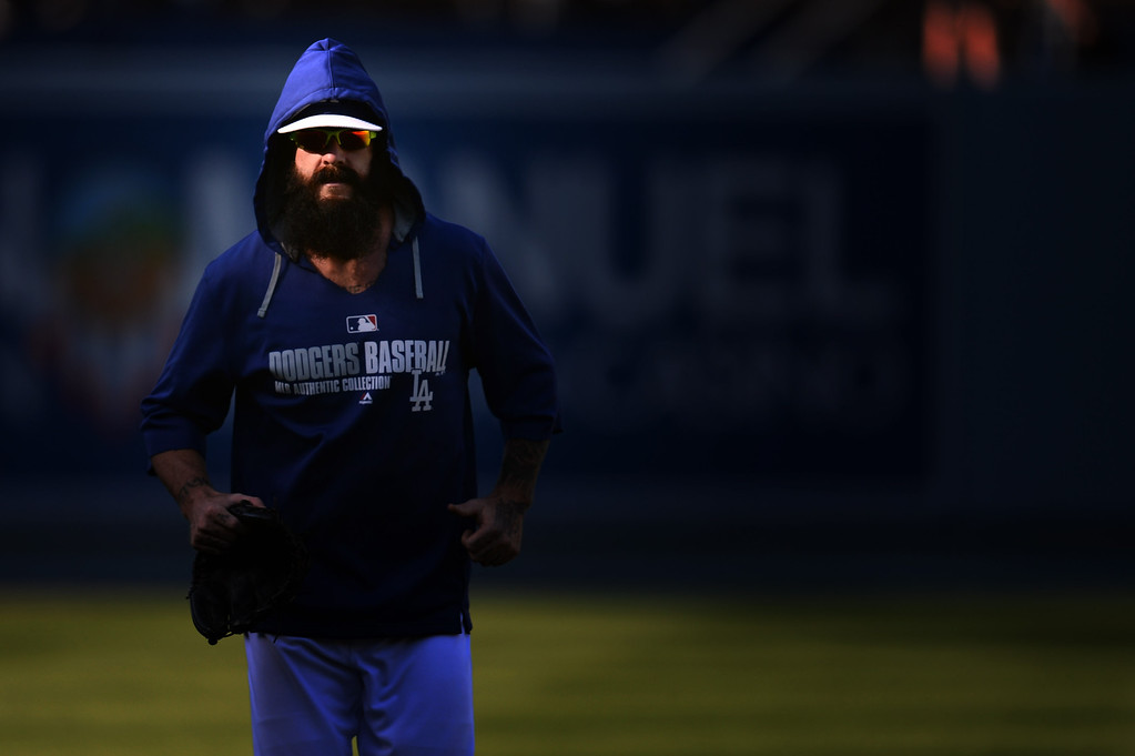 . Dodger pitcher Brian Wilson heads for the dugout before the Dodgers vs Giants game at Dodger Stadium Friday, May 9, 2014. (Photo by Hans Gutknecht/Los Angeles Daily News)