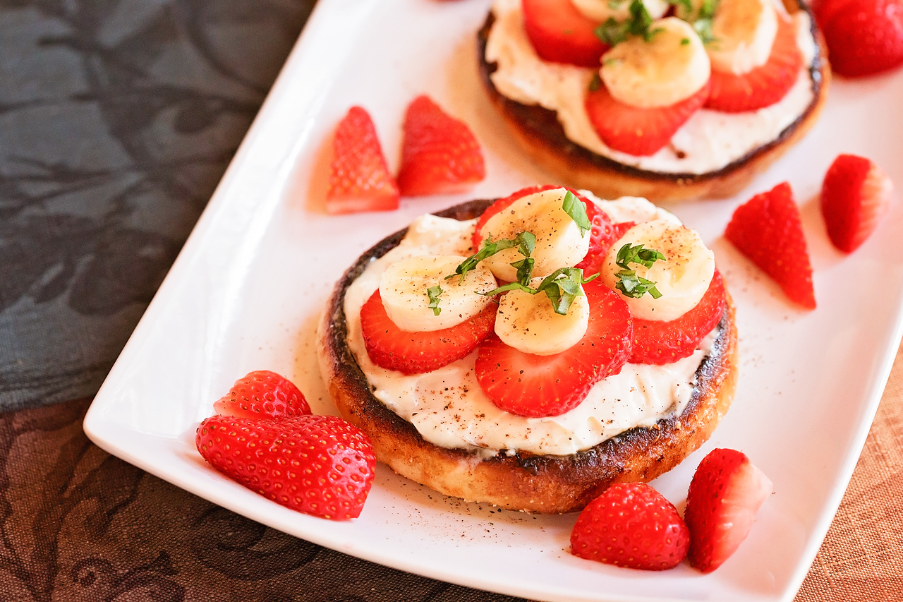 Caramelized Fruit and Mascarpone English Muffins