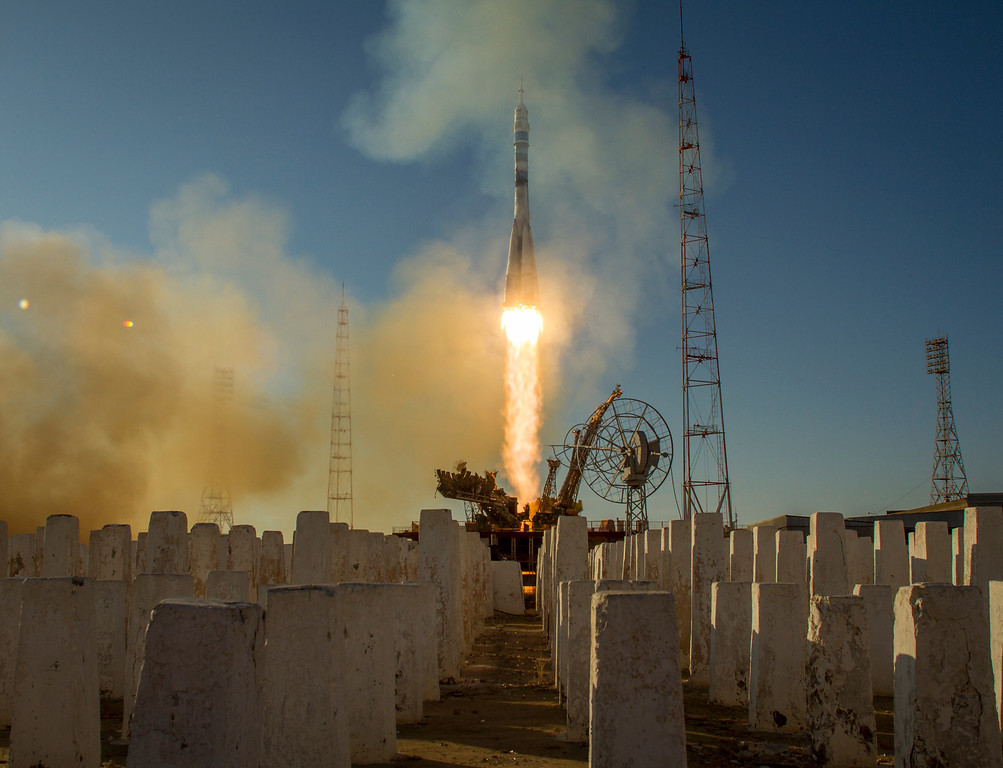 . In this handout photo provided by NASA, The Soyuz TMA-11M rocket is launched with Expedition 38 Soyuz Commander Mikhail Tyurin of Roscosmos, Flight Engineer Rick Mastracchio of NASA and Flight Engineer Koichi Wakata of the Japan Aerospace Exploration Agency onboard, on November 7, 2013, at the Baikonur Cosmodrome in Baikonur, Kazakhstan.  (Photo by Bill Ingalls/NASA via Getty Images)