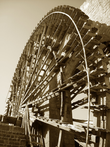 a water wheel - noria - in Hama, Syria