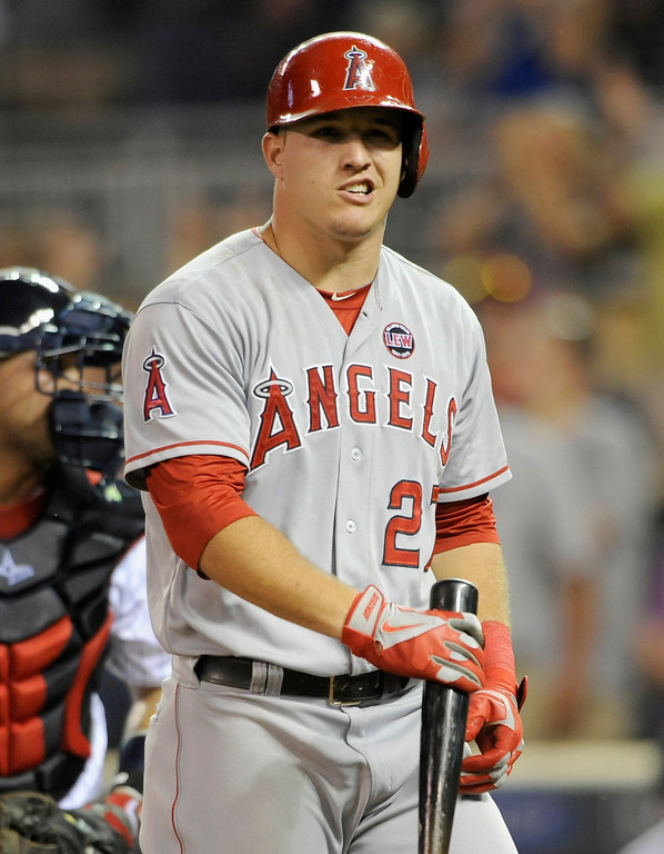 . MINNEAPOLIS, MN - SEPTEMBER 9: Mike Trout #27 of the Los Angeles Angels of Anaheim reacts to striking out for the last out of the game against the Minnesota Twins on September 9, 2013 at Target Field in Minneapolis, Minnesota. The Twins defeated the Angels 6-3. (Photo by Hannah Foslien/Getty Images)