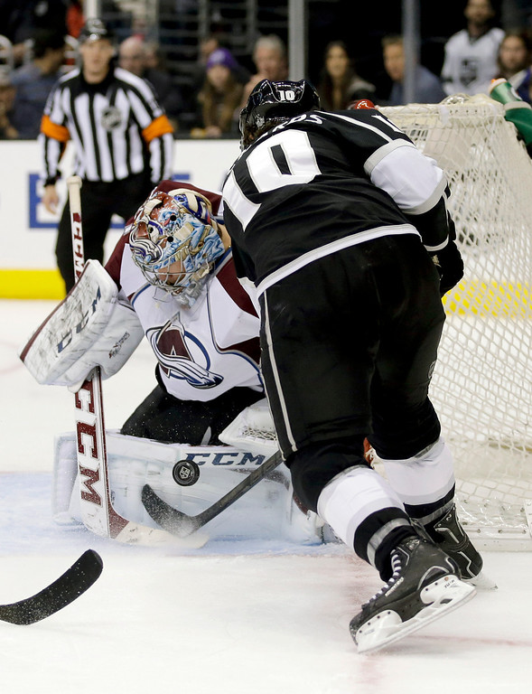. Colorado Avalanche goalie Semyon Varlamov, left, blocks a shot by Los Angeles Kings center Mike Richards during the second period of an NHL hockey game, Saturday, Dec. 21, 2013, in Los Angeles. (AP Photo/Chris Carlson)