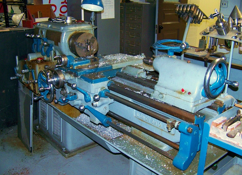The Monarch Lathe is the smaller of the two lathes.