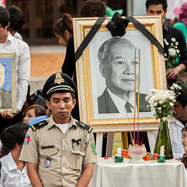 Mourners in Phnom Penh, Cambodia