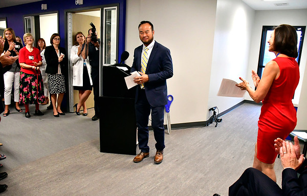 8/9/2019 Mike Orazzi | Staff Andrew Lim, MD—chairman of emergency medicine, Bristol Health during the ribbon cutting for behavioral health unit at Bristol Hospital on Friday morning.