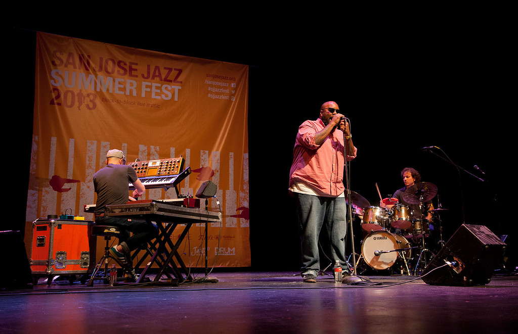 . From left, Jason Lindner, Kokayi and Dafnis Prieto of the Dafnis Prieto Proverb Trio perform at the San Jose Rep Stage at the San Jose Jazz Festival, in San Jose, Calif., on Saturday Aug. 10, 2013.  (LiPo Ching/Bay Area News Group)