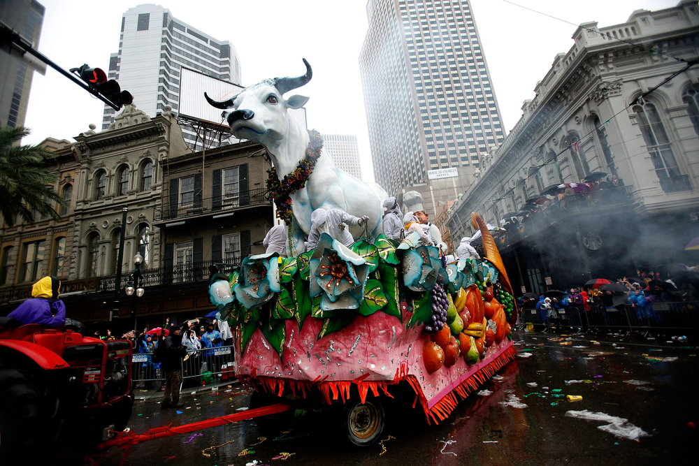 . Members of Rex parade down St. Charles Avenue despite the rain Mardi Gras Day on March 4, 2014 in New Orleans, Louisiana. Fat Tuesday, the traditional celebration on the day before Ash Wednesday and the beginning of Lent, is marked in New Orleans with parades and marches through many neighborhoods in the city.(Photo by Sean Gardner/Getty Images)