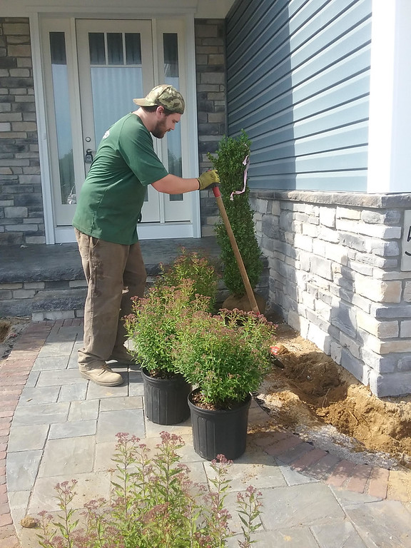 . Paul Love of McCaskey Landscape and Design based in Chardon prepares to plant bushes along the walkway leading to the 2018 Dream House. (Jean Bonchak)