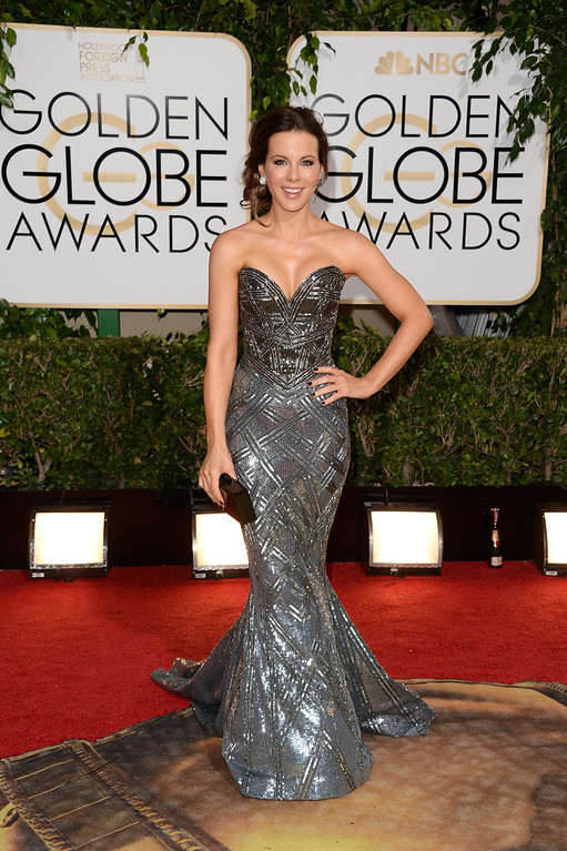. Actress Kate Beckinsale attends the 71st Annual Golden Globe Awards held at The Beverly Hilton Hotel on January 12, 2014 in Beverly Hills, California.  (Photo by Jason Merritt/Getty Images)