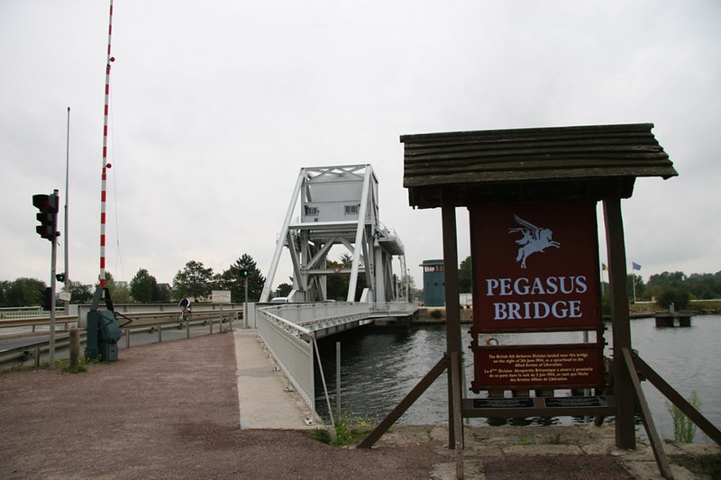 Pegasus Bridge, Normandy.  Site of the first action by the Allies during the early hours of D-Day.  Bridge captured by British paratroopers who flew in by glider.