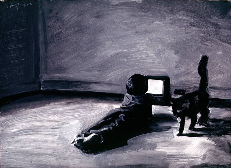 Boy and cat; acrylic on paper, 22 x 30 in, 1992