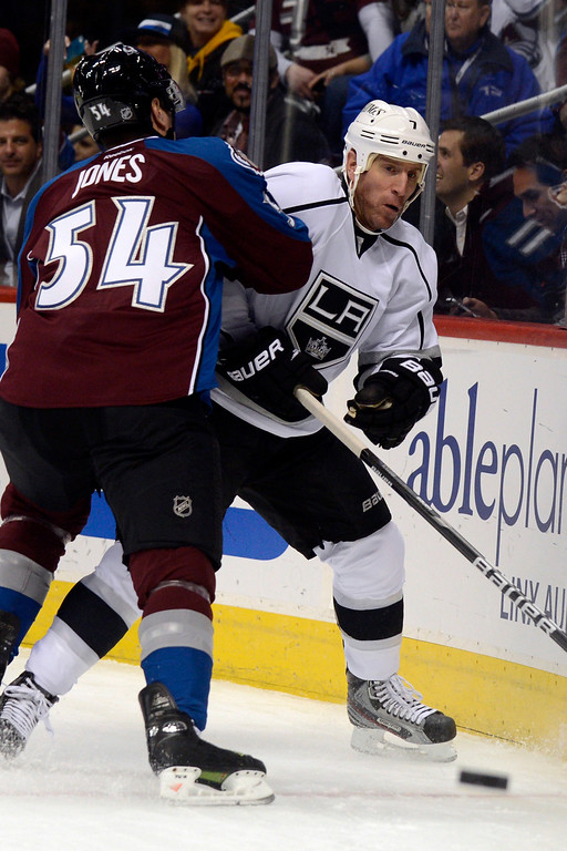 . DENVER, CO. - JANUARY 22: Colorado Avalanche right wing David Jones (54) gets physical with Los Angeles Kings defenseman Rob Scuderi (7) during the first period. The Colorado Avalanche hosted the Los Angeles Kings at the Pepsi Center on January, 22, 2013.   (Photo By John Leyba / The Denver Post)