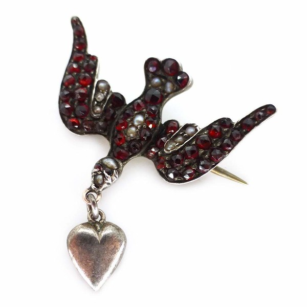 Antique Victorian Garnet & Pearl Swallow Love Heart Pin Brooch