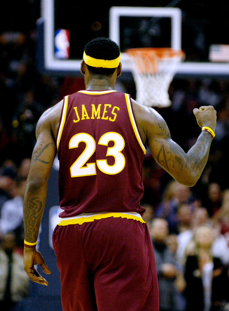. Jeff Forman/JForman@News-Herald.com LeBron James pumps is fist in the final moments of the Cavaliers win over the Lakers Thursday at Quicken Loans Arena.
